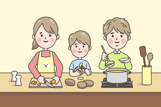 Lineaire stijl japanse familie koken