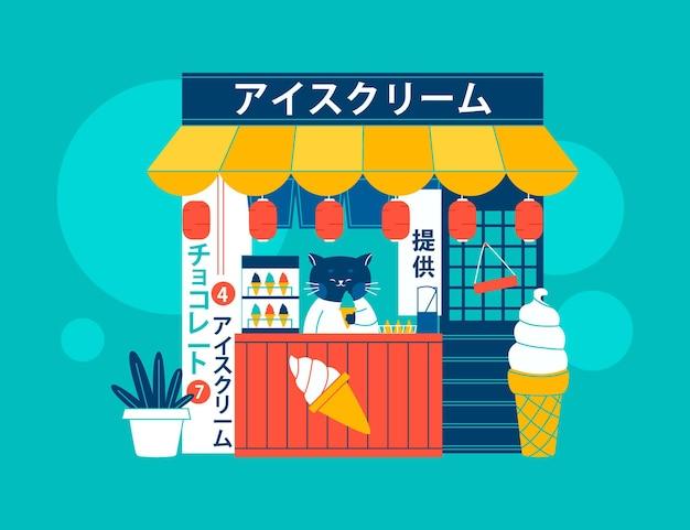 Lineaire stijl japanse ijssalon