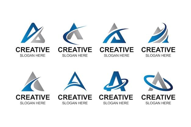 Lineaire stijl letter a logo bundel