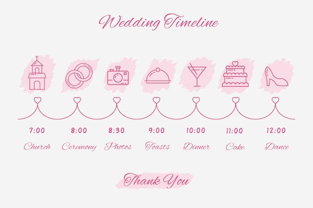 Lineaire stijl sjabloon bruiloft tijdlijn