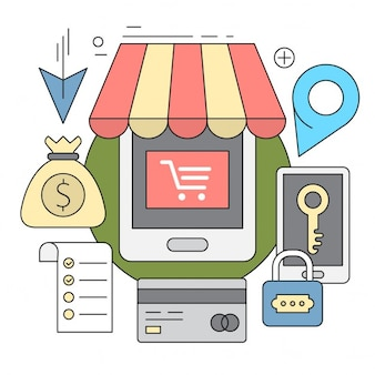 Lineaire stijliconen modern vector elementen kleurrijke shopping icon set