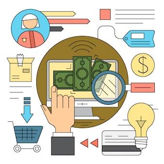 Lineaire stijliconen webshop en online bankieren