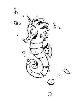 Lineaire tekening van een zeepaardje. mode tatoeage.