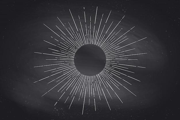 Lineaire tekening van lichtstralen, zonnestraal