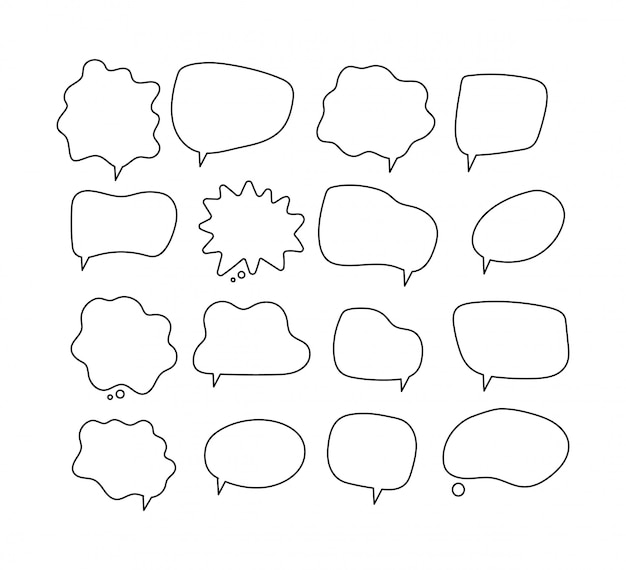 Lineaire tekstballonnen. schrijf ronde vormen voor de komische bubbelcollectie van het tijdschrift
