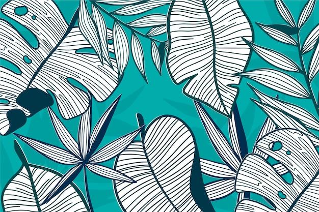 Lineaire tropische bladeren in pastelkleur