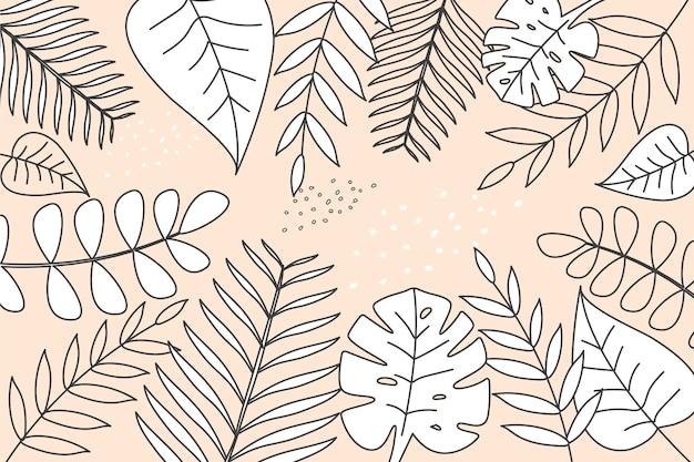 Lineaire tropische bladeren met pastelkleurachtergrond