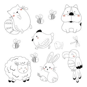 Lineaire vector kinderen illustratie set van schattige dieren