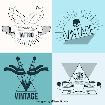 Lineaire vintage tattoos set