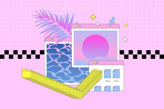 Lineaire vintage vaporwave-achtergrond