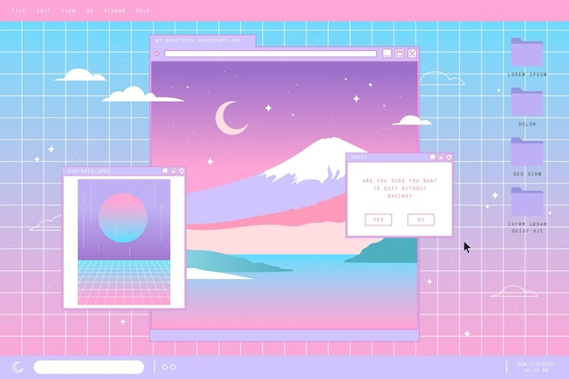 Lineaire vintage vaporwave achtergrond