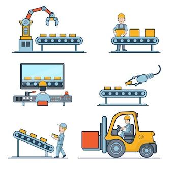 Lineaire vlakke industriële fabricage transportband en magazijn opslagmachines illustratie set. bedrijfsconcept productieproces. verpakken, transporteren, beheren in controlecentrum.