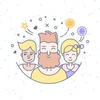 Lineaire vlakke mensen worden geconfronteerd met illustratie. sociale media avatar, userpic en profielen.