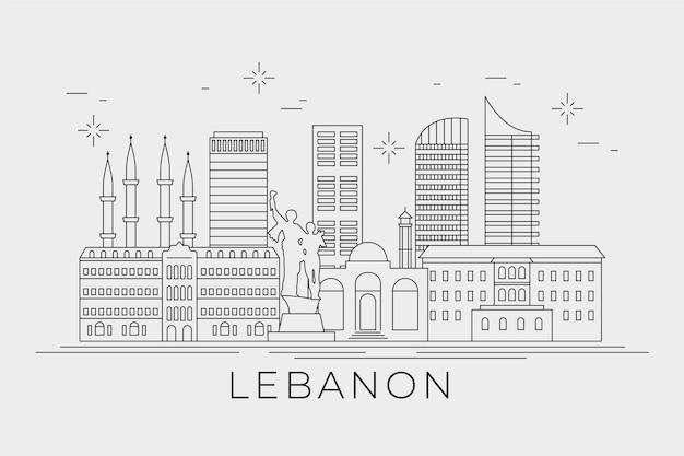 Lineaire vlakke skyline van libanon