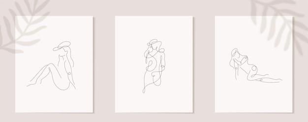Lineaire vrouwenfiguur instellen continu lineair silhouet van vrouwelijk gezicht