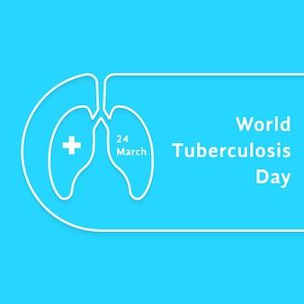 Lineaire wereld tuberculose dagkaart. concept van ansichtkaartsjabloon, oefening, bronchiale astma, eerste hulp, analyse. geïsoleerd op blauwe achtergrond. vlakke stijl trend moderne logo ontwerp vectorillustratie