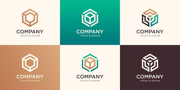 Lineaire zeshoekige logo's en ontwerpelementen