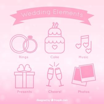 Lineal bruiloft elementen in roze kleur