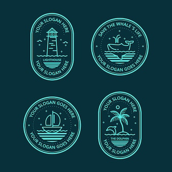 Lineal sea logo badge collectie