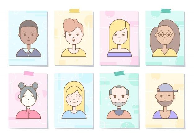 Linear flat people faces icon set. sociale media avatar, userpic en profielen.
