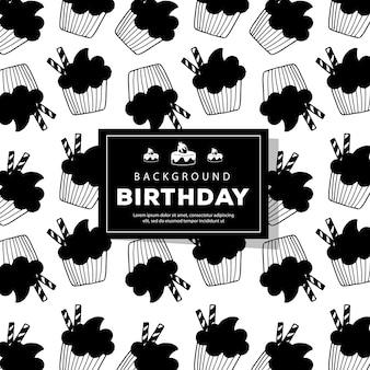 Lineart gelukkige verjaardag patroon