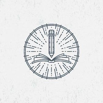 Lineart-symbool voor kennis, onderwijs, school, kunst. grafisch logo, label.