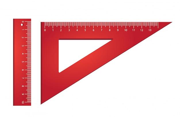 Liniaal en driehoek. meten, gereedschappen, geometrie.