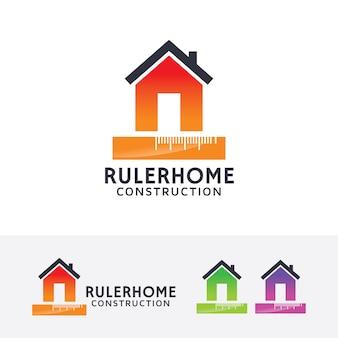 Liniaal huis vector logo sjabloon