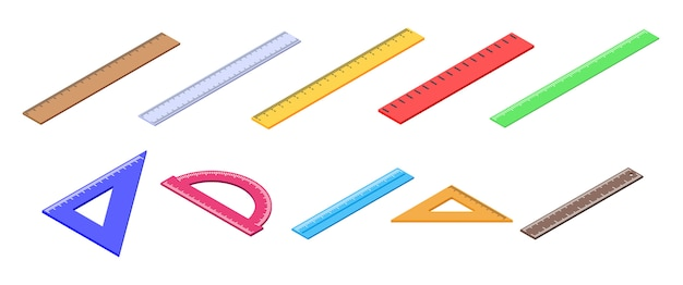 Liniaal iconen set, isometrische stijl