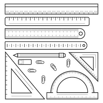 Liniaal tape pictogramserie. overzichtsreeks liniaalband vectorpictogrammen