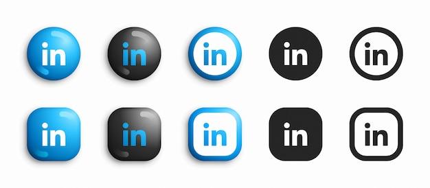 Linkedin moderne 3d en plat pictogrammen instellen