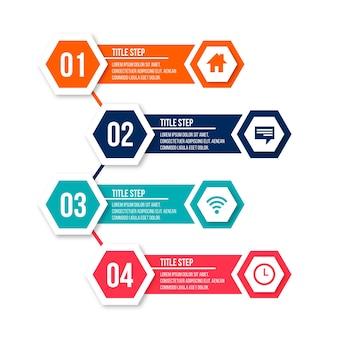 Links en rechts richting voor stappen infographic
