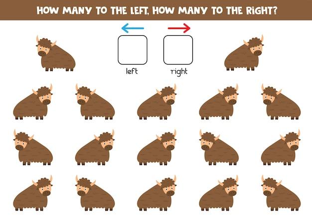 Links of rechts. ruimtelijke oriëntatie voor kinderen. hoeveel yaks gaan er naar links en naar rechts. educatief logisch spel.
