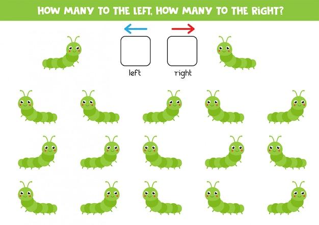 Links of rechts. ruimtelijke oriëntatie voor kinderen. schattige cartoon rups.
