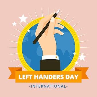 Linkshandige dag in plat ontwerp