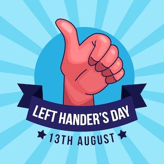 Linkshandige dag met duimen omhoog