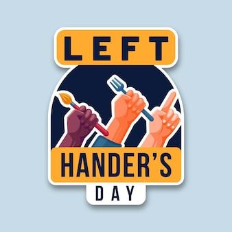 Linkshandige dag met handen met objecten
