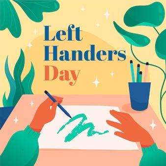 Linkshandige dag met handen tekenen