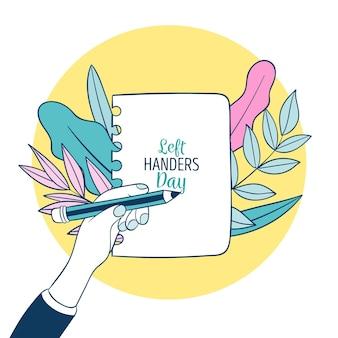 Linkshandige dag met persoon schrijven