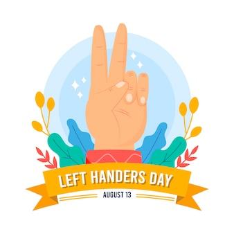 Linkshandige dag met vredesteken