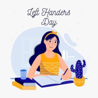 Linkshandige dag met vrouw schrijven