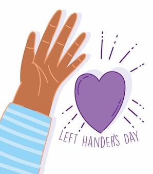 Linkshandige dag, open hand cartoon feest