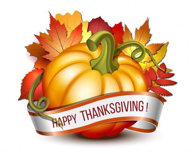 Lint met happy thanksgiving-letters en oranje pompoenen