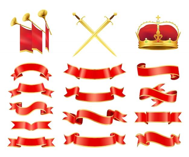 Linten en zwaarden icons set