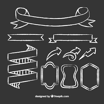 Linten frames en pijlen verzamelen in schoolbordstijl