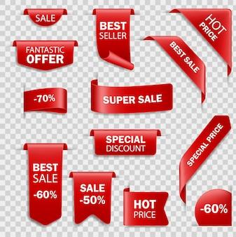 Lintverkoopbadges, banners, prijskaartjes. tags ingesteld. verkoop hete prijsaanbieding