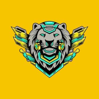 Lion cyborg illustratie