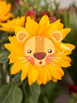 Lion doodle over een zonnebloem
