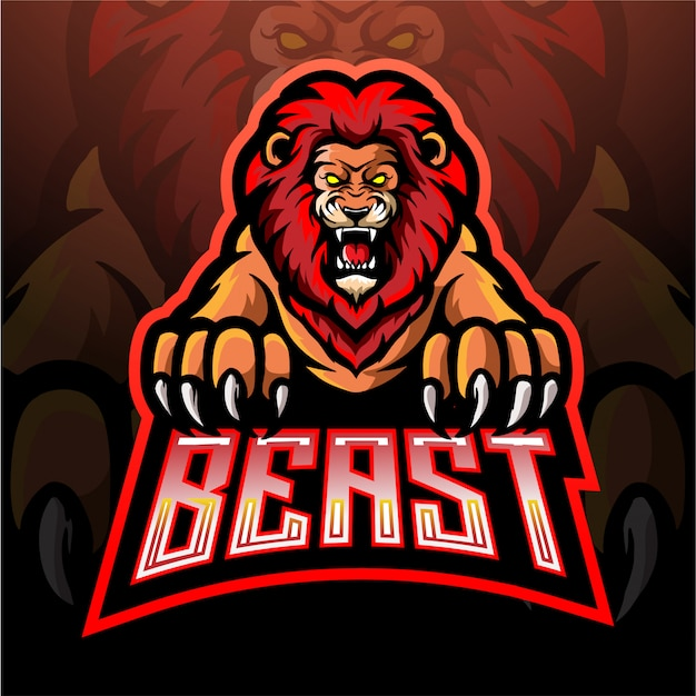 Lion esport mascotte logo ontwerp