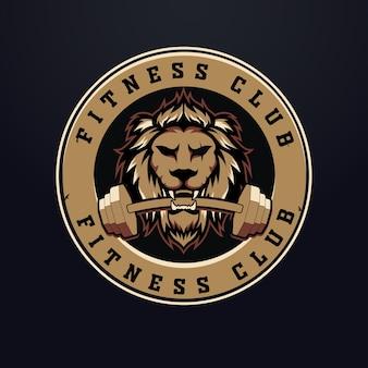 Lion fitness logo ontwerp met